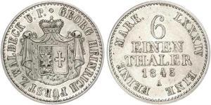 1/6 Thaler Principauté de Waldeck-Pyrmont (1180 - 1918) Argent Georges II de Waldeck-Pyrmont