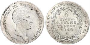 1/6 Thaler Royaume de Prusse (1701-1918) Argent Frédéric-Guillaume III de Prusse (1770 -1840)