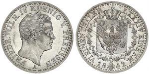 1/6 Thaler Royaume de Prusse (1701-1918) Argent Frédéric-Guillaume IV de Prusse (1795 - 1861)