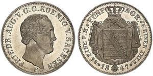 1/6 Thaler Royaume de Saxe (1806 - 1918) Argent Frédéric-Auguste II de Saxe