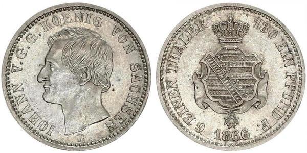 1/6 Thaler Royaume de Saxe (1806 - 1918) Argent Jean Ier de Saxe (1801-1873)