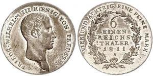 1/6 Thaler Regno di Prussia (1701-1918) Argento Federico Guglielmo III di Prussia  (1770 -1840)