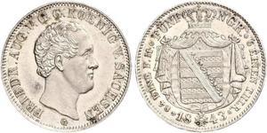 1/6 Thaler Regno di Sassonia (1806 - 1918) Argento Federico Augusto II di Sassonia