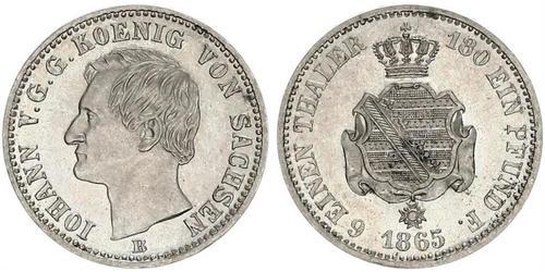 1/6 Thaler Regno di Sassonia (1806 - 1918) Argento Giovanni di Sassonia