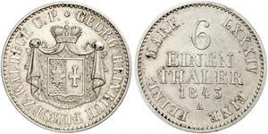 1/6 Thaler Waldeck e Pyrmont (1180 - 1918) Argento Giorgio II di Waldeck e Pyrmont