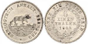 1/6 Thaler Anhalt-Bernburg (1603 - 1863) Plata Alexander Karl, Duke of Anhalt-Bernburg (1805 – 1863)