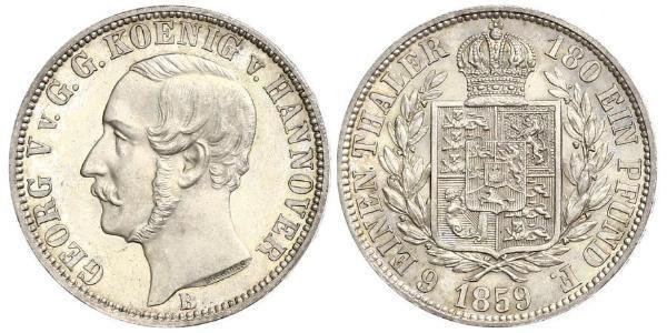 1/6 Thaler Reino de Hannover (1814 - 1866) Plata Jorge V de Hannover (1819 - 1878)