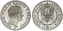 1/6 Thaler Reino de Prusia (1701-1918) Plata Federico Guillermo IV de Prusia (1795 - 1861)