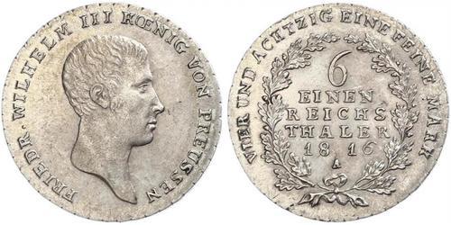 1/6 Thaler Reino de Prusia (1701-1918) Plata Federico Guillermo III de Prusia (1770 -1840)
