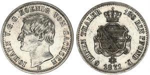 1/6 Thaler Reino de Sajonia (1806 - 1918) Plata Juan I de Sajonia