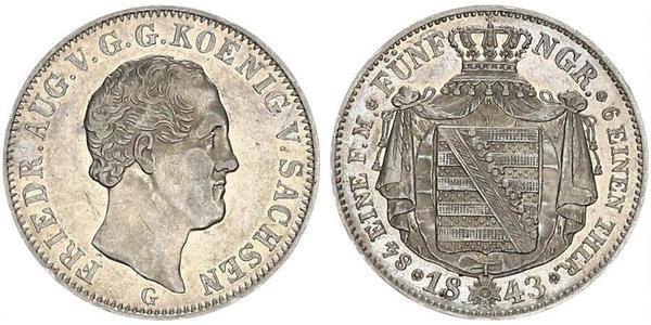 1/6 Thaler Reino de Sajonia (1806 - 1918) Plata Federico Augusto II de Sajonia