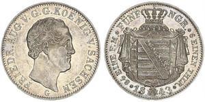 1/6 Thaler Kingdom of Saxony (1806 - 1918) Silver Frederick Augustus II of Saxony