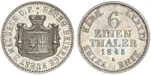 1/6 Thaler Waldeck (state) (1180 - 1918) Silver George II, Prince of Waldeck and Pyrmont