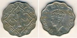 1 Anna British Raj (1858-1947) Copper/Nickel George VI (1895-1952)