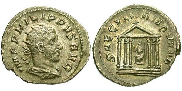 1 Antoninianus Roman Empire (27BC-395) Silver Philip the Arab (204-249)
