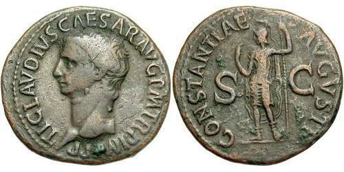 1 As Römische Kaiserzeit (27BC-395) Bronze Claudius I (10BC-54)