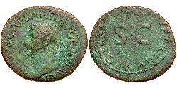 1 As Roman Empire (27BC-395) Bronze Decimus Claudius Drusus (38BC-9BC)