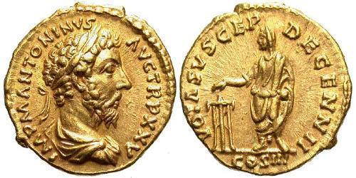 1 Aureus Römische Kaiserzeit (27BC-395) Gold Mark Aurel (121-180)