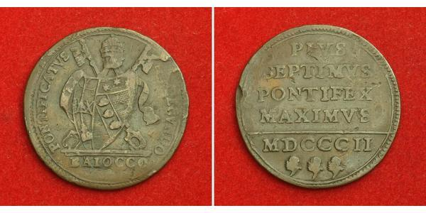 1 Baiocco 教皇国 (754 - 1870) 銅 Pope Pius VII (1742 -1823)