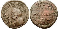1 Baiocco Papal States (752-1870) Copper Pope Pius VI ( 1717-1799)