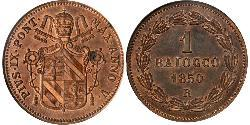 1 Baiocco Papal States (752-1870) Copper