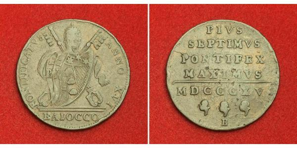 1 Baiocco Papal States (752-1870) Copper Pope Pius VII (1742 -1823)