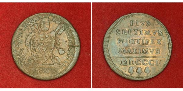 1 Baiocco Stato Pontificio (752-1870) Rame Papa Pio VII  (1742 -1823)