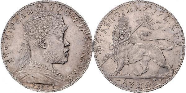 1 Birr Éthiopie Argent Menelik II of Ethiopia ( 1844 -1913)