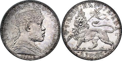 1 Birr Äthiopien Silber Menelik II of Ethiopia ( 1844 -1913)