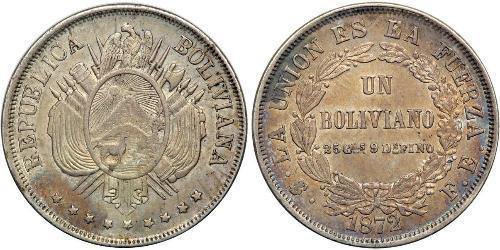 1 Boliviano Багатонаціональна Держава Болівія  (1825 - ) Срібло