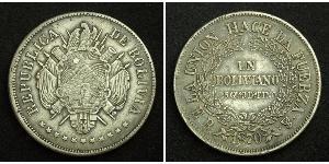 1 Boliviano Bolivie (1825 - ) Argent
