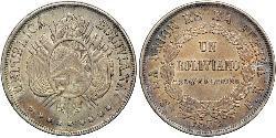 1 Boliviano Plurinational State of Bolivia (1825 - ) Silver