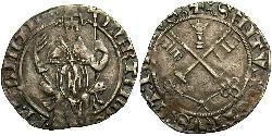 1 Carlin Papal States (752-1870) Silver Pope Martin V (1368 -1431)