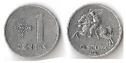 1 Cent Lithuania (1991 - ) Aluminium