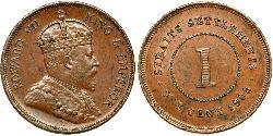 1 Cent Insediamenti dello Stretto (1826 - 1946) Bronzo Edoardo VII (1841-1910)