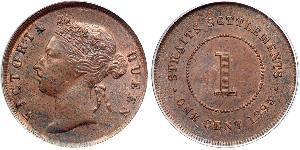 1 Cent Établissements des détroits (1826 - 1946) Cuivre