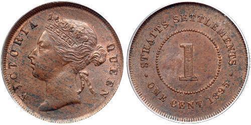 1 Cent Insediamenti dello Stretto (1826 - 1946) Rame