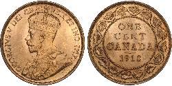 1 Cent Canadá Tin/Cobre/Zinc Jorge V (1865-1936)
