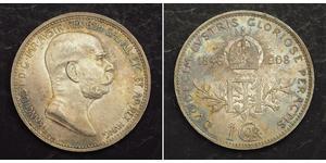 1 Corona Австро-Венгрия (1867-1918) Серебро Франц Иосиф I (1830 - 1916)