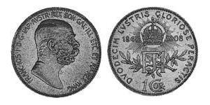 1 Corona Австро-Угорщина (1867-1918) Срібло Франц Иосиф I (1830 - 1916)