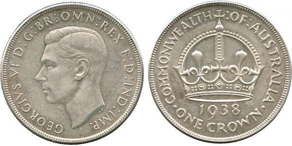 1 Corona Australia (1788 - 1939) Argento Giorgio VI (1895-1952)
