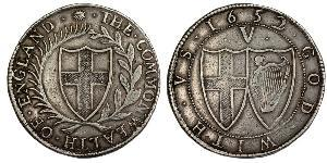 1 Corona Commonwealth of England (1649-1660) Argento