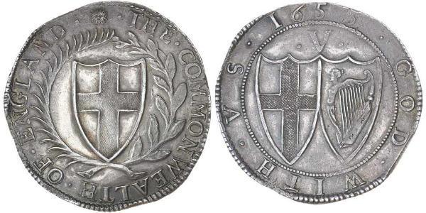 1 Corona Commonwealth of England (1649-1660) Argento