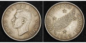1 Corona Nuova Zelanda Argento Giorgio VI (1895-1952)