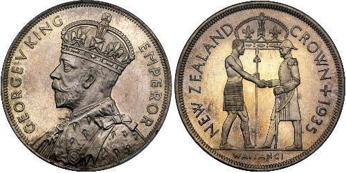 1 Corona Nuova Zelanda Argento Giorgio V (1865-1936)