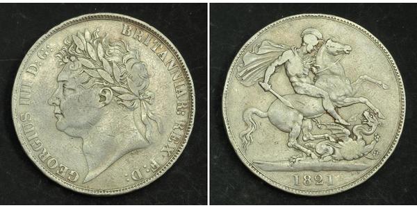 1 Crown 大不列颠及爱尔兰联合王国 (1801 - 1922) 銀 喬治四世 (1762-1830)