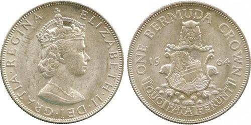 1 Crown Bermudas Plata Isabel II (1926-)