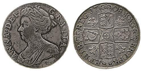 1 Crown Reino de Gran Bretaña (1707-1801) Plata Ana de Gran Bretaña(1665-1714)