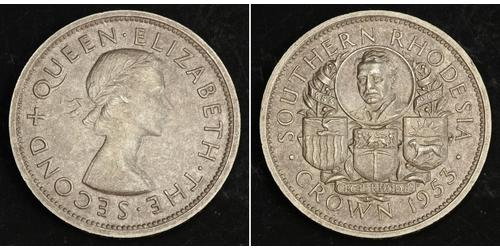 1 Crown Southern Rhodesia (1923-1980) Plata Isabel II (1926-)