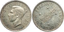 1 Crown Neuseeland Silber Georg VI (1895-1952)